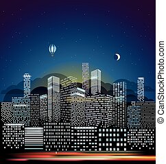Modern cityscape in the morning vector illustration. City buildings perspective