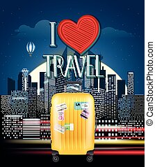 Modern cityscape in the night with a handbag. I love travel concept