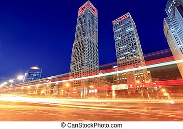 modern, cityscape, noha, forgalom, -ban, szürkület