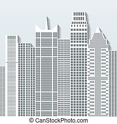 Modern cityscape vector illustration with office buildings...