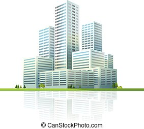 modern, cityscape, vektor, illustration., geschaeftswelt, stadt, wolkenkratzer