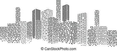 modern, cityscape, vektor, illustration., stadt, gebäude, perspektive