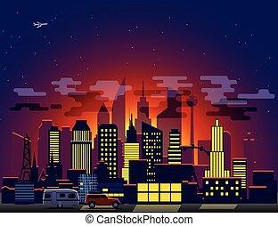 Modern cityscape with night illumination. Vector illustration
