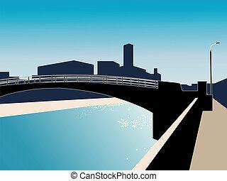 Modern cityscape with river bridge.