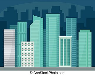Modern cityscape with skyscrapers, business buildings at night, urban panorama, city street landscape vector Illustration