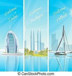 Modern Cityscapes 3 Banners Set