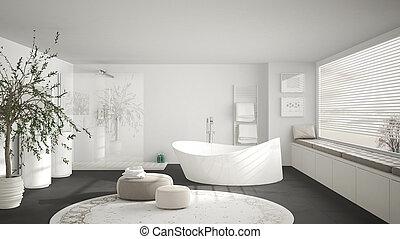 Modern classic bathroom with big round carpet, large panoramic window, minimalistic white and gray interior design
