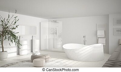Modern classic bathroom with big round carpet, minimalistic white interior design