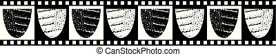 Modern classic seamless vector border of textured bowl shapes with black and white checkered edging and background. Great for fabric borders, stationery, packaging, food, beauty products, washi tape