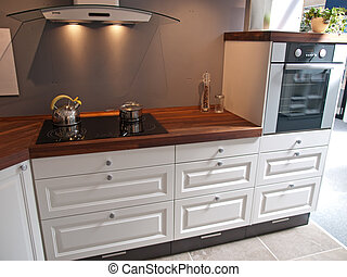 Modern classical design kitchen with wood and glass elements
