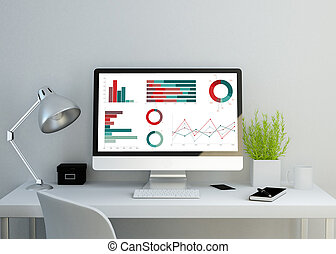 modern clean workspace showing charts and graphs on screen. ...