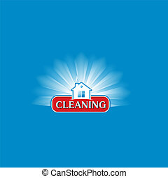 Modern cleaning service logo design idea - vector illustration. Shining clear cartoon house on blue background.