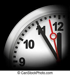five minutes to twelve - modern clock with watch hands...