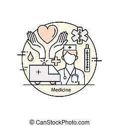 Modern color thin line art design medicine and Health...