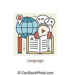 Modern color thin line concept of learning foreign languages, language training school.