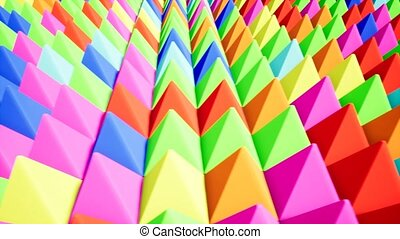 Modern colored pyramids, great design for any purposes. Technology pattern. Green abstract background. Abstract triangle. Red background. Blue color.