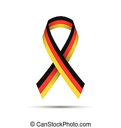 Modern colored ribbon with the German tricolor on white background, vector illustration
