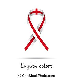 Modern colored vector awareness ribbon with the English colors isolated on white background, abstract English flag, Made in England logo