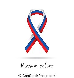 Modern colored vector awareness ribbon with the Russian tricolor isolated on white background, abstract Russian flag, Made in Russia logo