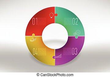 Modern colorful 4 steps timeline