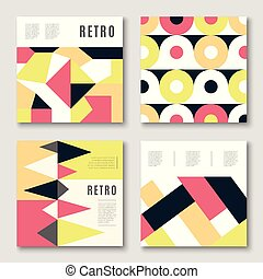 Modern colorful abstract geometric covers set. Minimal...
