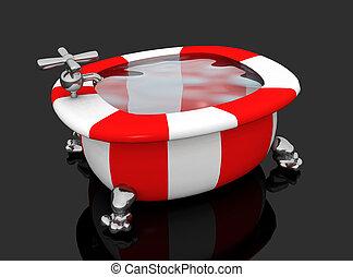 Modern colorful bathtub against a black background