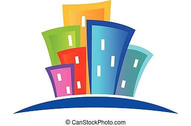 Modern colorful buildings logo