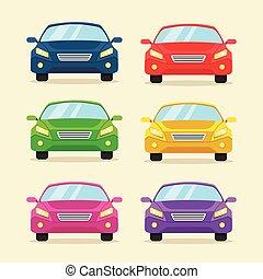 Modern colorful cars flat icon set