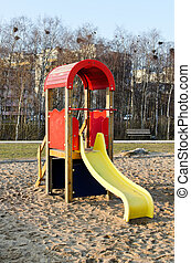 Modern colorful children slide in park