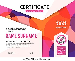 Modern colorful circles certificate background design template