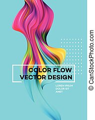 Modern colorful flow poster. Wave Liquid shape in blue color...