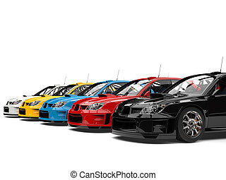 Modern colorful GT race cars
