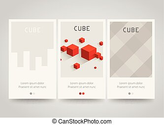 Modern colorful horizontal banners with square motive. Cubes and squares.