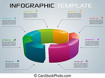 Modern colorful infographics options template vector with 3D diagram on grey background