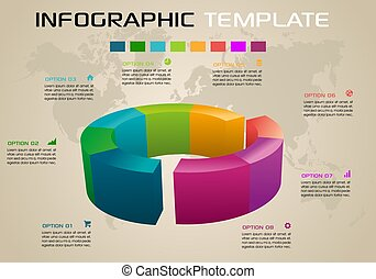 Modern colorful infographics options template vector with 3D diagram on ochre background