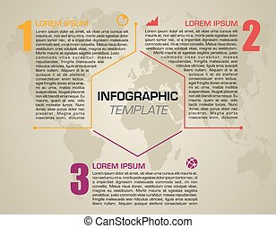Modern colorful infographics options template vector with orange hexagon. Can be used for web design, brochure, presentations and workflow layout