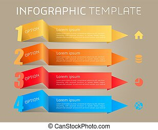 Modern colorful infographics options template vector with ribbons on gradient background.