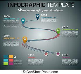 Modern colorful infographics options template vector with timeline on dark background