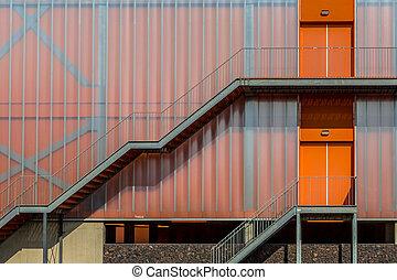 Modern colorful orange facade