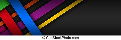 Modern colorful overlapped stripes vector header. Geometric material banner with blank space for your logo. Abstract website design