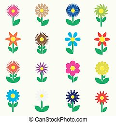 modern colorful simple retro small flowers set of icons eps10
