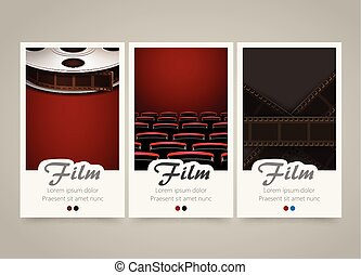 Modern colorful vertical cinema banners. Film, movie flyer or invitations.