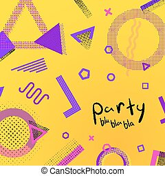 Modern colors background template with old style memphis elements.