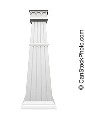 Modern column isolated on white background. Front view. 3d rende