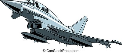 modern combat aircraft isolated on the white background