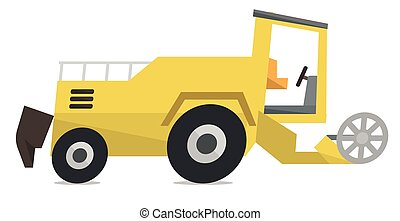 Modern combine harvester vector illustration.