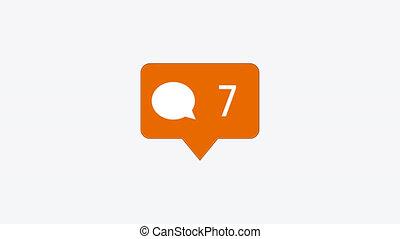 modern comment orange icon on white background
