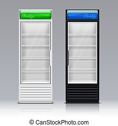 Modern commercial display fridge. Supermarket freezer equipment for drinks vector template