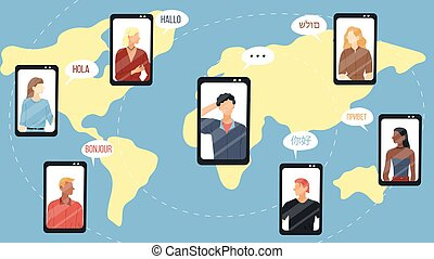 Modern Communication Concept. People From Different Countries Around The World Communicate With Each Other Through The Distance. Making Video Calls Using Modern Devices. Flat Style Vector Illustration.