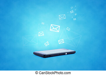 Modern communication technology illustration wModern communication technology illustration with mobile phone and high tech backgroundith mobile phone and high tech background